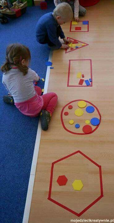 Formen Sortieren Kinder Kindergarten Geometrie Mathe