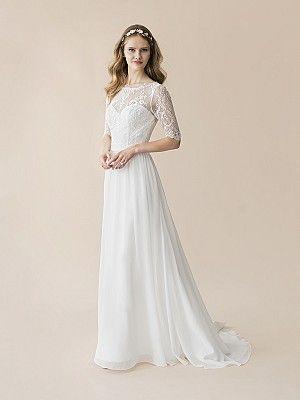 Lace 3 4 Sleeve Wedding Dress Moonlight Tango T802 Weddingdresswithsleeves Modestweddingdress Chiffonweddingdress Informal Dresseswedding