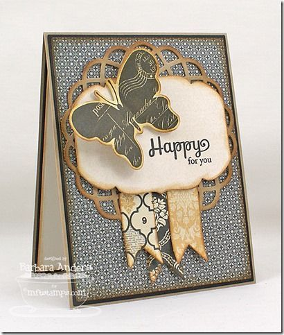 handmade card ... luv this design with several die cut elemnts ... fun butterfly ... chubby label ... banners with fishtails ... loopy circle ... great card!! ... Taylored Expressions ...