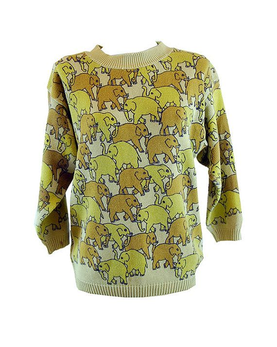 Elephants Everywhere knit jumper by GwenandWear on Etsy