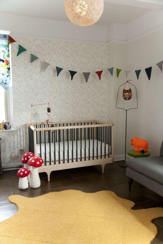 Baby's room.Pendants Lamps, Kids Room,  Cot, Baby Room, Cribs, Boys Room, Nurseries Ideas, White Wall, Mushrooms