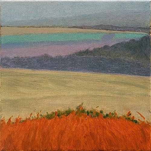 Valley shapes St Columb by Tom Henderson Smith approx 30 x 30 cm. Open Acrylic on stretched canvas