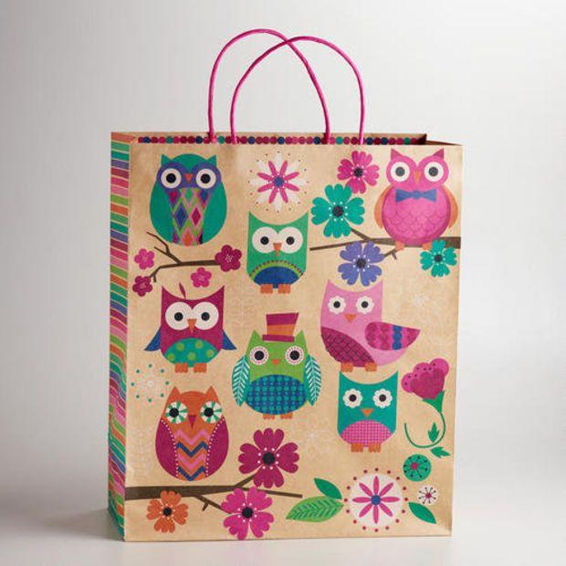Extra Large Spring Owls Kraft Gift Bag | World Market