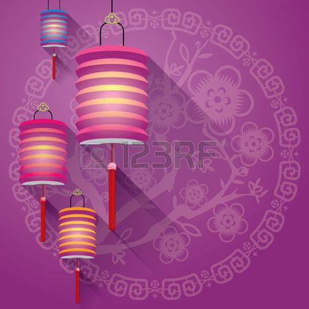 Fondo chino Resumen linternas de papel con el patr�n de la flora corte de papel photo