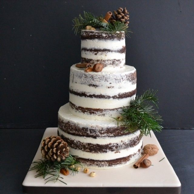 Tiny Sarah's Cakes for Sugarplum Cake Shop - Naked winter wedding cake - Gâteau de mariage d'hiver - inspiration