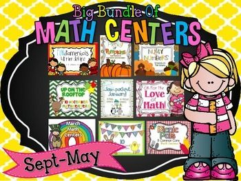 This big bundle of math centers gives you a school year's worth of hands on engaging math games for your math rotations!  In the zipped file you will find September through May Centers.  Each month focuses on important math skills allowing students to apply their learning in  hands on activities.
