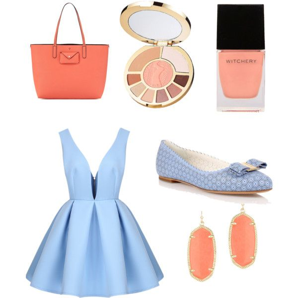 Untitled #8 by michaelacjefferson on Polyvore featuring polyvore, fashion, style, Salvatore Ferragamo, Marc by Marc Jacobs, Kendra Scott, tarte and Witchery