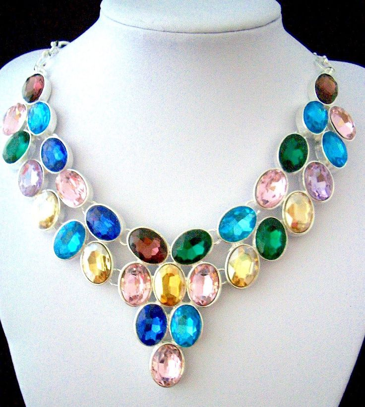 Multicolor Crystals (tones of blue, burgundy, pink, violet, green, yellow) set into Silver Elegant Statement Bib Necklace. by Ameogem on Etsy