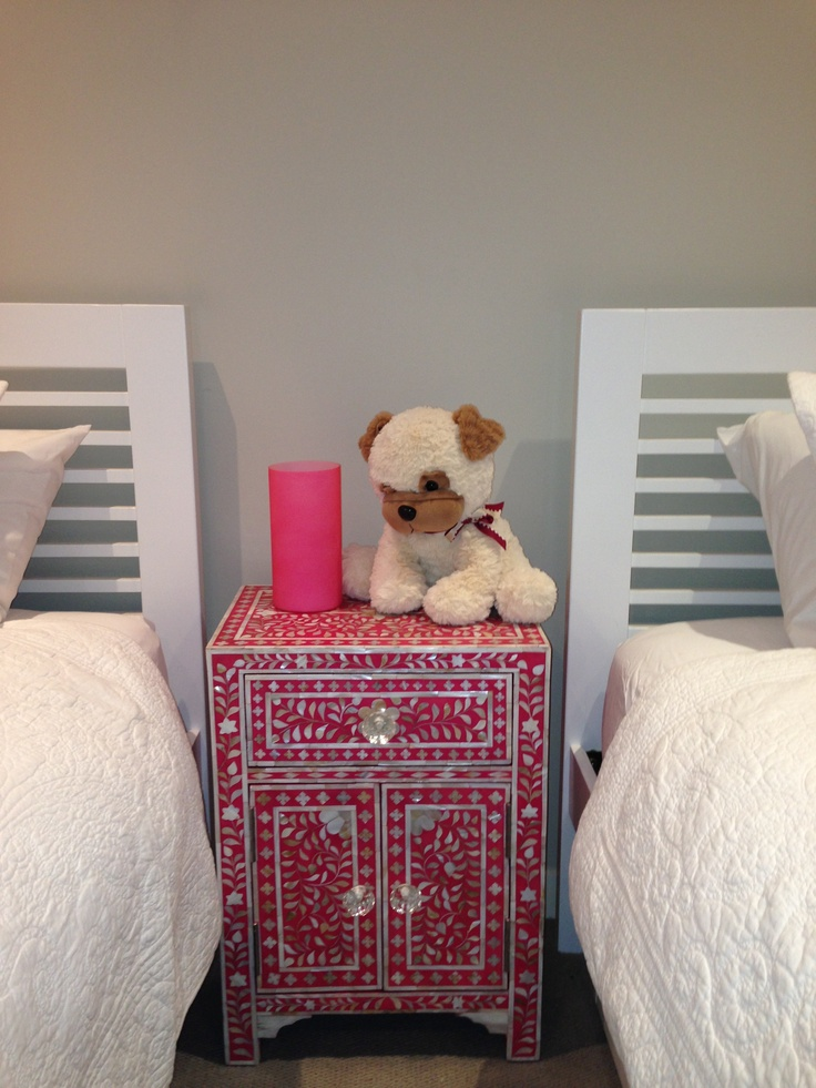 Bone Inlay Bedside Cabinet - Pink and White.
