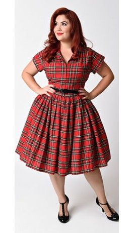 Bernie Dexter Plus Size 1950s Red Plaid Kelly Cap Sleeve Swing Dress - Unique Vintage