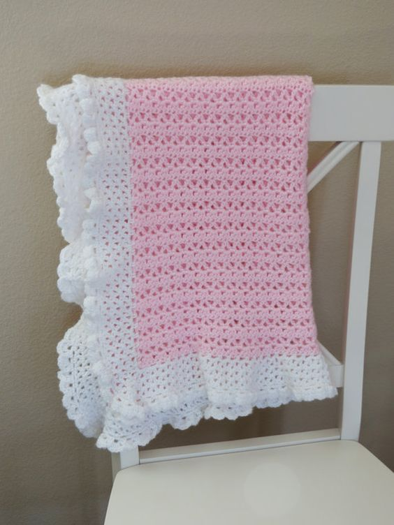 Crochet baby blanket pattern with a beautiful soft lace border. It would be a perfect baby shower gift. Adorable, and easy to make. This listing is for a CROCHET PATTERN, not the physical crochet baby blanket.  ♥ Pattern name: Cherish Baby Blanket  ♥ Skill level - beginner or an advanced beginner. The finished size of this blanket is approximately 28 by 32 inches. With instruction to make it larger if desired. Blanket can be made with sport or worsted weight yarn, and uses basic crochet…