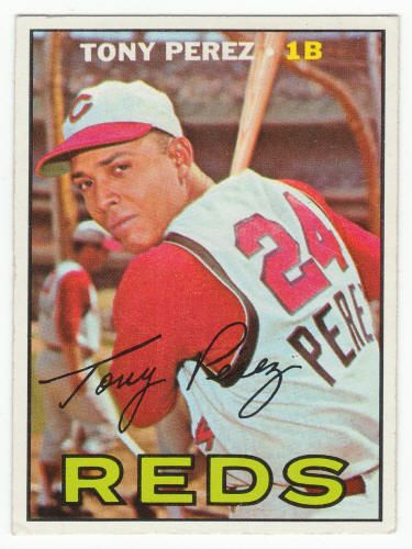 "1967 Topps Tony Perez (Short Print) #476 VG/Ex: very minor vertical bend in ""D"" in Reds. $28"