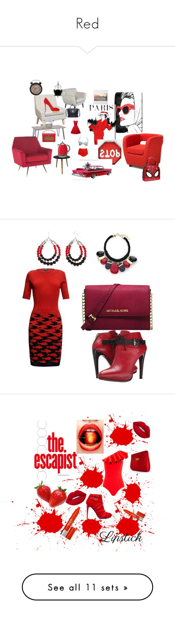 """""""Red"""" by watsonpleshette ❤ liked on Polyvore featuring Oliver Gal Artist Co., Rigby & Mac, Swan, Charlotte Olympia, Baxton Studio, Michael Kors, COSTUME NATIONAL, Rumour London, Chico's and Accessory PLAYS"""