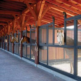 Open air stalls built using Classic Equine Equipment