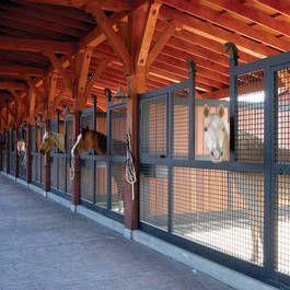 Open air stalls built using Classic Equine Equipment