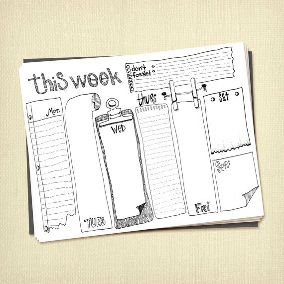 Prinable Weekly To Do List Planner Instant por ARTiculatePRINTS