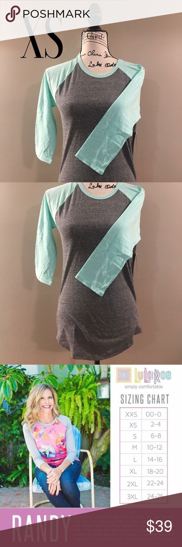 NWT LuLaRoe XS Randy NWT baseball style 3/4 sleeved top. Sleeves are a light teal color with dark heathered grey bodice. Bottom of shirt has a scoop design that nicely covers your bottom (perfect for when wearing leggings). Can also go great with jeans, shorts or a skirt. Reference sizing chart to ensure correct size. (Can size up or down depending on how loose or tight of a fit you're looking for) LuLaRoe Tops
