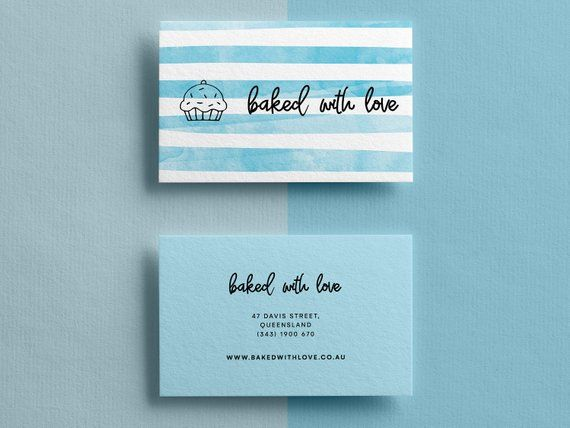 Elegant Watercolor Business Card Feminine Business Card Template Diy Template Instant Dow Bakery Business Cards Watercolor Business Cards Diy Business Cards