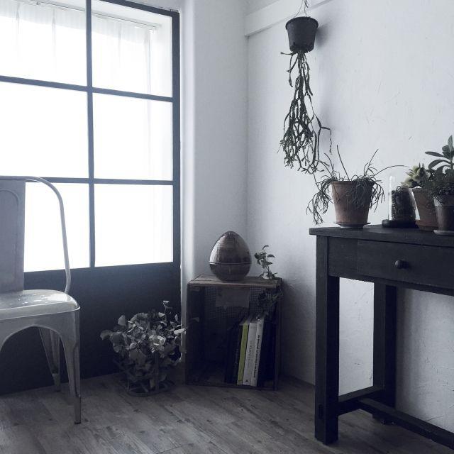 misaeさんの、男前,古道具,多肉植物,塩系インテリアの会,NO GREEN NO LIFE,ペイント家具,観葉植物,部屋全体,のお部屋写真