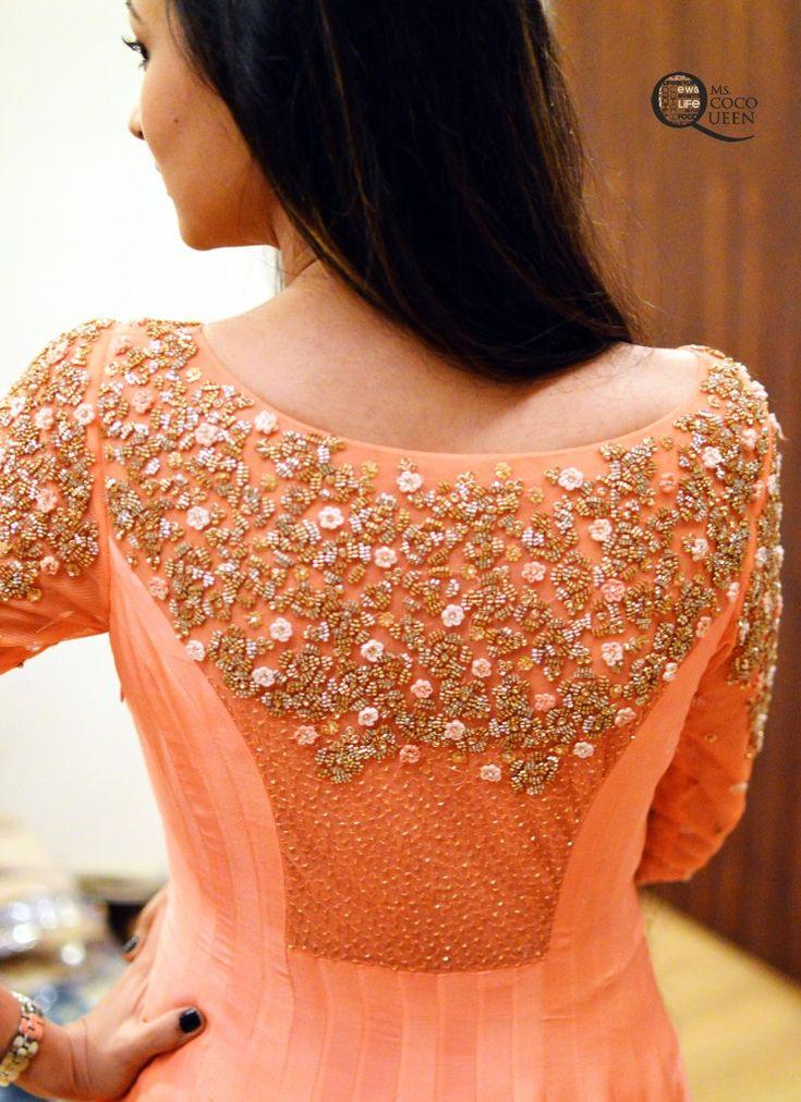 B'ful #Embroidery details on back of asymmetrical kalidar #Anarkali by http://MadSamTinZin.com/ ShahpurJat, Delhi https://www.facebook.com/madsamtinzin