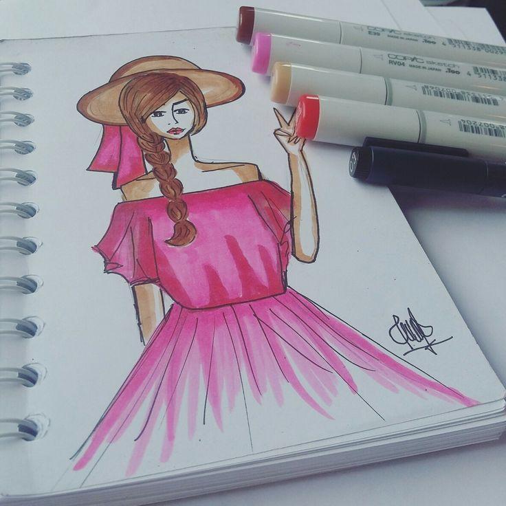 #fashion #sketch #drawing #copic #illustration #designer #girl #ribbon #pink