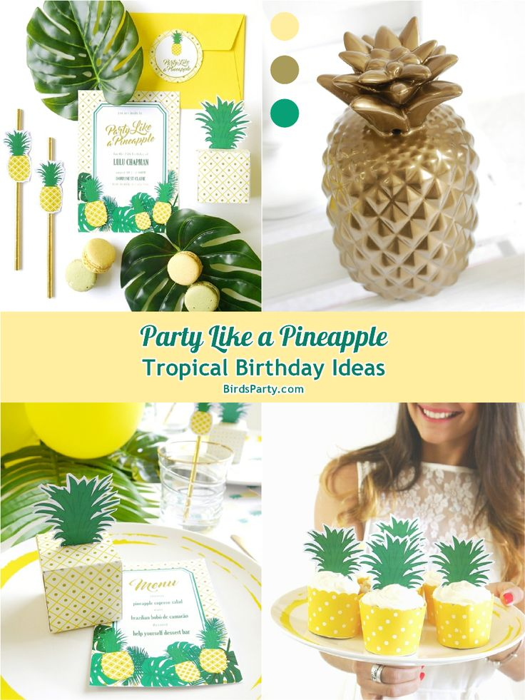 Pineapple birthday party printables supplies decorations for Ananas dekoration