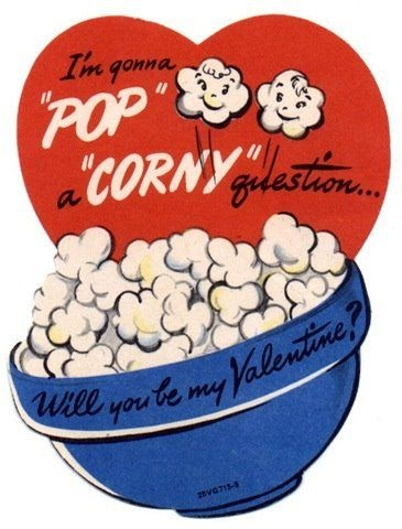 Valentines Day with a bag of popcorn... cute!