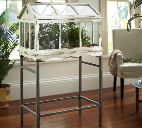 "Large Terrarium Stand | Pottery Barn | 99 dollars | 30"" wide x 18"" deep x 31.5"" high 