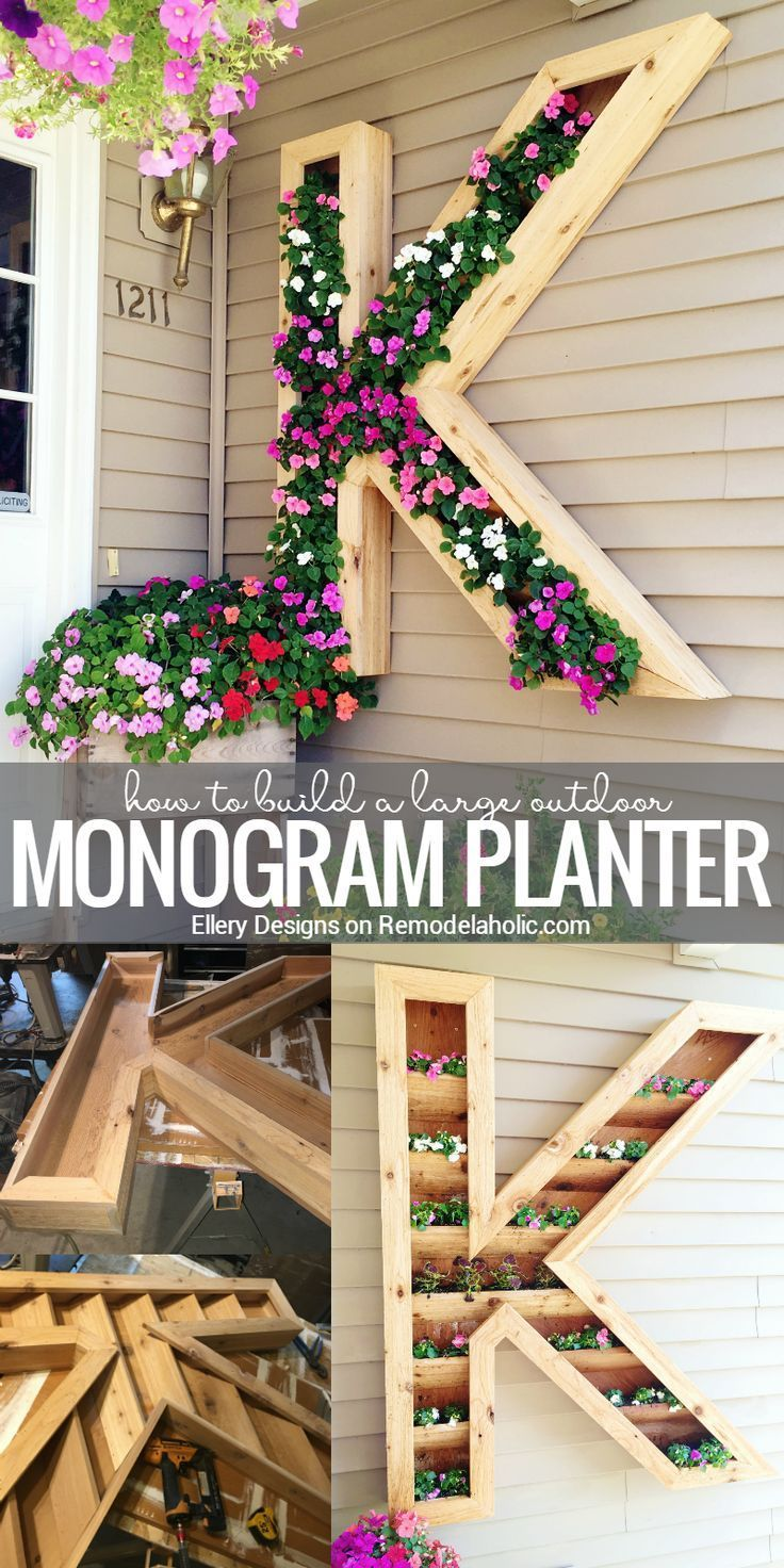 This extra large monogram planter will add some beautiful color to your front walkway! Built with cedar to withstand watering and weathering, plus you can easily re-plant when this season's blooms are done. Tutorial from Ellery Designs on http://Remodelaholic.com.