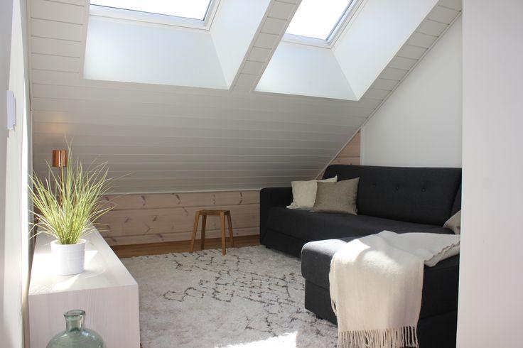 Guest room at Villa Kapee modern Log House in Finnish Housing Fair 2015. Architect Jussi Hietalahti, interior architect Hanna-Marie Naukkarinen