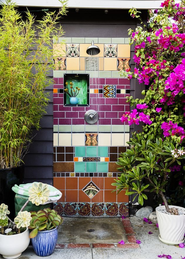 All-Container Garden's outdoor shower turns the space into a true retreat.
