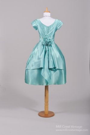 1950's Turquoise Silk Satin Vintage Party Dress (back)