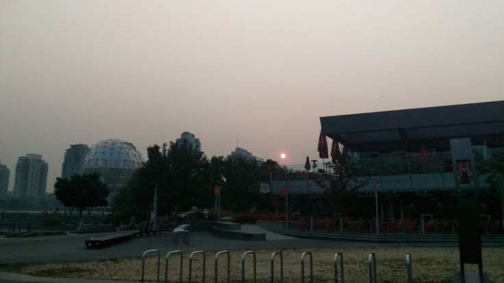 Day 335 When your usual morning doesn't look normal... #bcfire #forrestfires #hazy #morning #vancouver #olympicvillage