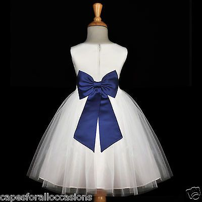 WHITE NAVY BLUE WEDDING BRIDESMAID GOWN NEW FLOWER GIRL DRESS 12-18M 2 4 6 8 10