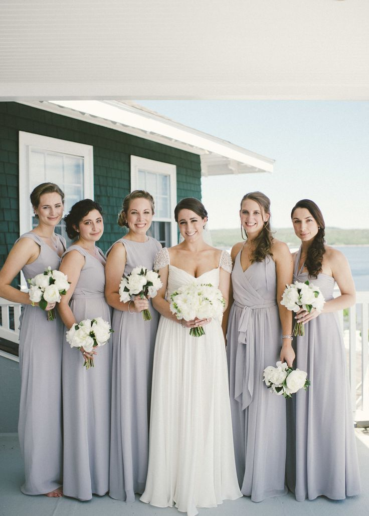 Dove Grey French's Point Maine Wedding Lilac bridesmaid dresses Bridesmaid dress colors