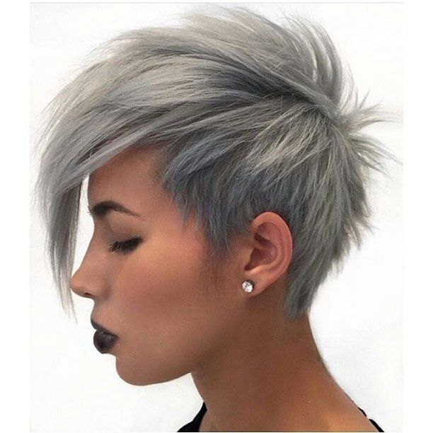 trendy short gray pixie hairstyle with bangs