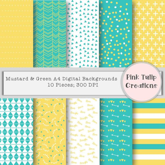 """10 x digital A4 backgrounds. Mustard, green and white.  - All images are 8.3"""" x 11.7"""" and include PNG and JPEG format.  - 300 dpi for clear and crisp backgrounds.  Files will need to be unzipped before use.   **These products are available for all personal and commercial use, credit is encouraged but not essential.**"""