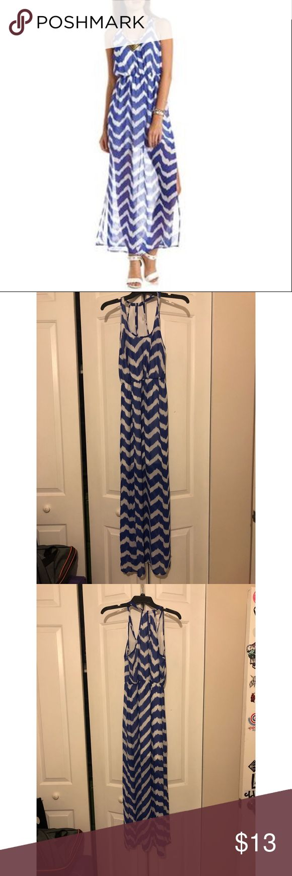 Blue and white flowy maxi! Has slits on side of legs, lined until mid thigh Beautiful for on the beach! Charlotte Russe Size Medium Worn a handful of times 💕 Charlotte Russe Dresses