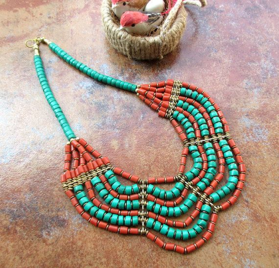 Boho Style Turquoise and Coral Necklace / Statement by Enhara