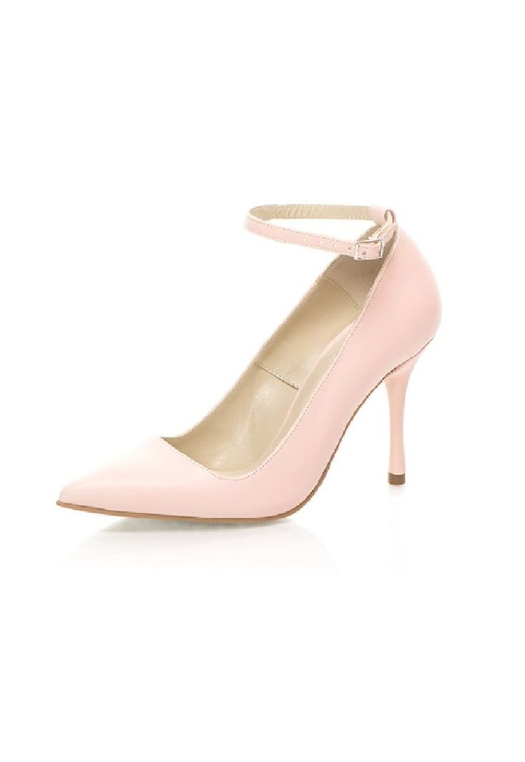 Mihaela Glavan Pantofi din piele roz deschis cu bareta pe glezna