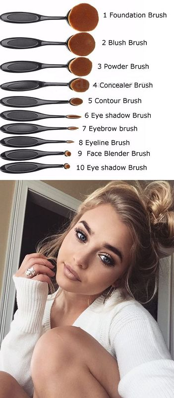 These 10 luxuriously soft oval brushes are the highest quality brushes available today. They have flexi heads to allow the brushes to intricately follow contours of your face. This bestows the profess