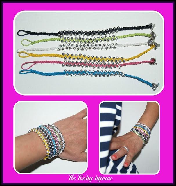 braccialetti primavera estate 2012  treccia realizzata con cotone cerato e perline. ile roby bijoux