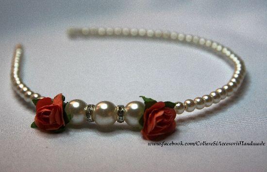 Bentita Bridal perlute si floricele, by colierehandmade, 20 Lei
