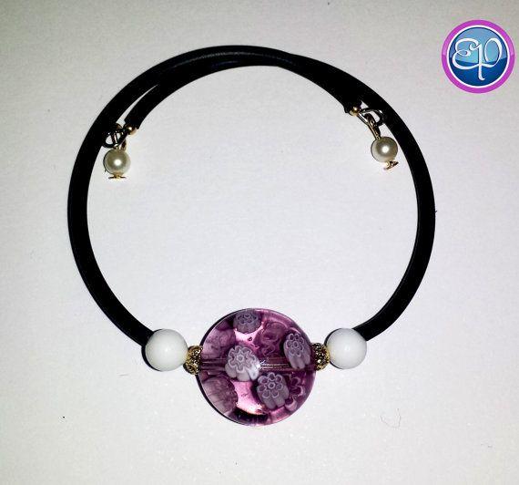 Murano glass (with murrine) memory wire bracelet.  Swarovski accent beads. https://www.etsy.com/listing/197382851/murano-bead-memory-wire-bracelet-with