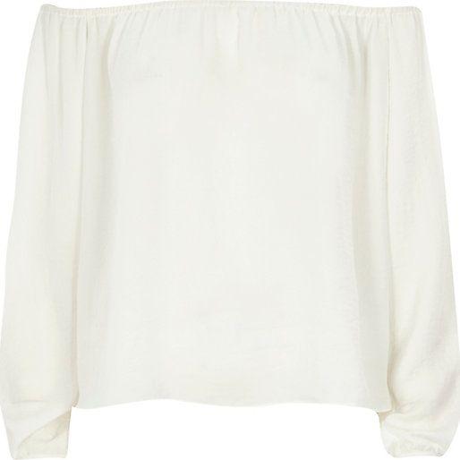 Cream bardot top - bardot / cold shoulder tops - tops - women