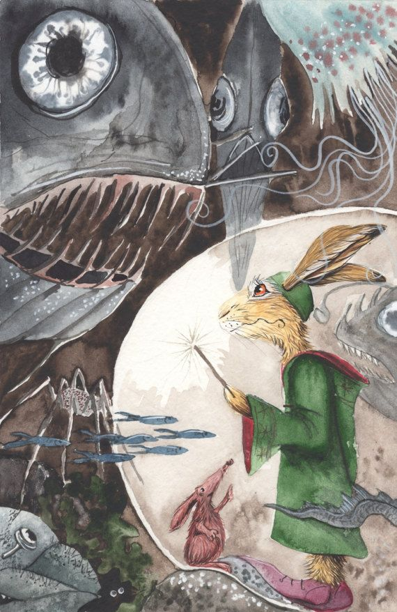 Under the Icy Seas! - A3 Print by Jacqui Lovesey from 'The Puzzle of the Tillian Wand' - fantasy hare art.