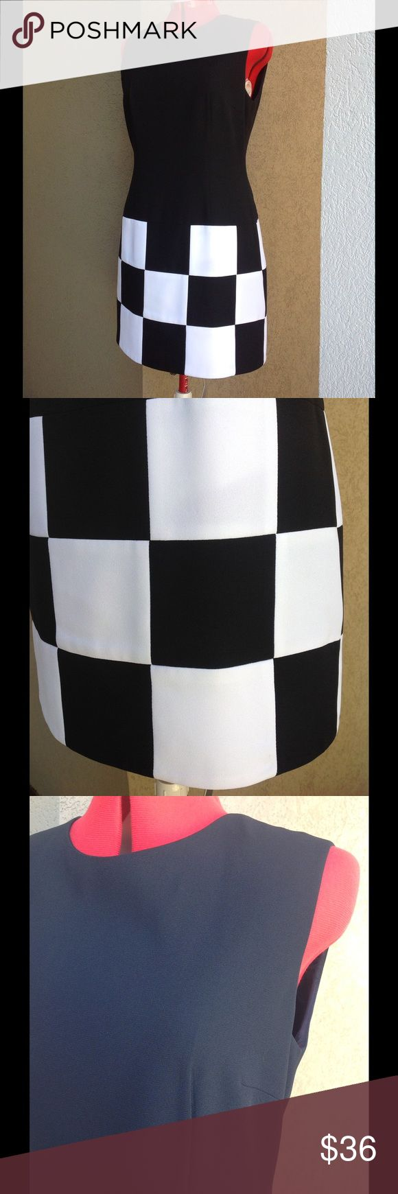 "LAUNDRY SHELLI SEGAL Vintage Checkerboard Dress Mid 90s sleeveless shift Dress, styled like a 60s scooter dress. Gorgeous condition. Black and white. Crepe polyester outer, and acetate lining. Dry cleaned, and no stains to note. A couple of little marks that look like pin pricks near the base of the zipper as shown in closeup photo. Approx meas laid flat: U-U 18.5"" across, W 17"" acr, H 20"" acr, L 34.5"". Vintage Dresses"