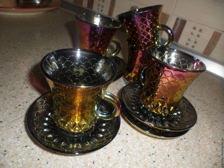 Купить чайные чашки с блюдцем - тёмно-зелёный, чайная церемония, чайная пара, винтажный стиль