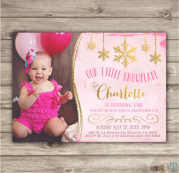 invitation words forst birthday party%0A Photo Winter Onederland Snowflake Birthday Glitter Pink and Gold Party girl First  Birthday Picture Printable Winter First NV