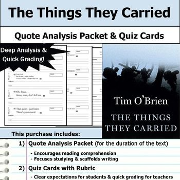 analysis things they carried by tim Detailed analysis of characters in tim o'brien's the things they carried learn all about how the characters in the things they carried such as tim o'brien and norman bowker contribute to the story and how they fit into the plot.